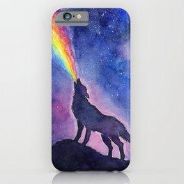 Galaxy Wolf Howling Rainbow iPhone Case
