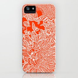 Dahlia Lino Cut, Fiery Red iPhone Case
