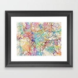 Rome Italy Street Map Framed Art Print