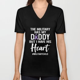 Military Child Month Purple Up Heart Daddy Pride product Unisex V-Neck