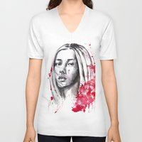 asia V-neck T-shirts featuring asia by Lua Fraga