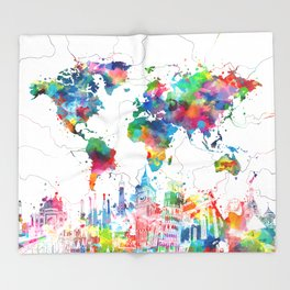world map watercolor collage Throw Blanket