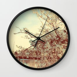 Hello Spring! (White Cherry Blossom by the Lake) Wall Clock