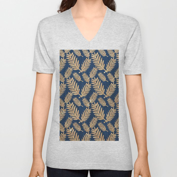 Modern navy blue faux gold glitter tropical floral Unisex V-Neck