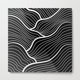 Abstract waves / black & white Metal Print