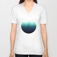 teal V-neck T-shirts featuring Teal Ombré by Caitlin Workman