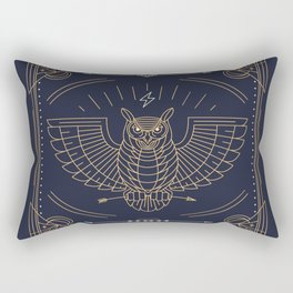 Owl Gold on Black with White Pattern Rectangular Pillow