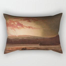Eruption of Mauna Loa, Hilo Bay, Hawaii landscape painting  by Charles Furneaux Rectangular Pillow