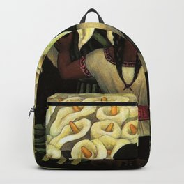 1941 Classical Masterpiece Calla lily 'Flower Seller' by Diego Rivera Backpack