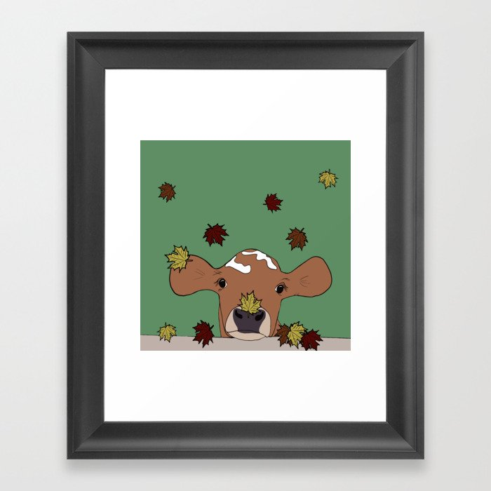 Bessie the Calf and Fall Leaves Framed Art Print