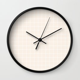 Linen - pink color - White Lines Grid Pattern Wall Clock