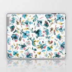 Blue watery hibiscus flowers - Tropical floral pattern Laptop & iPad Skin