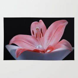 Red lily and pearl luster Rug