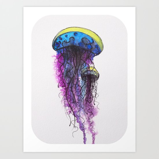 Sketchy Jellyfish Art Print
