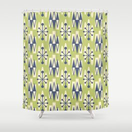 Retro Mid Century Modern Atomic Triangles 724 Blue and Green Shower Curtain
