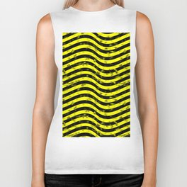 Wiggly Yellow and Black Speckle Pattern Biker Tank