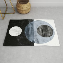 Circles Black and White Geometric Mid-Century Modern Abstract Rug