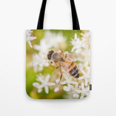 Bee and White Flowers Tote Bag