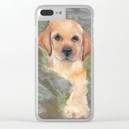 Yellow Lab Puppy Clear iPhone Case