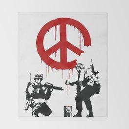 Soldiers Painting Peace Symbol, Banksy, Streetart Street Art, Grafitti, Artwork, Design For Men, Wom Throw Blanket