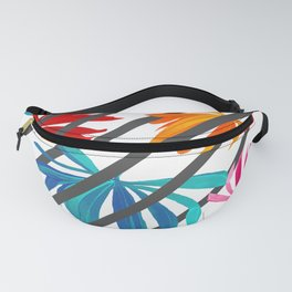 Colorful Tropic Leaves Lines Exotic Pattern Fanny Pack
