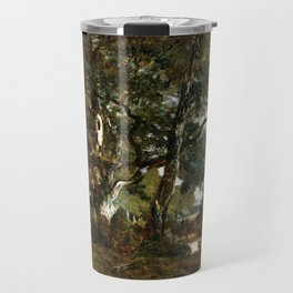 Théodore Rousseau Forest of Fontainebleau, Cluster of Tall Trees Overlooking the Plain of Clair-Bois Travel Mug