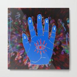 Lucky Hamsa Hand and Eye with Dark Flames Metal Print
