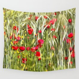 Red Corn Poppies Wall Tapestry