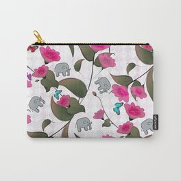 Abstract neon pink green cute elephant floral Carry-All Pouch