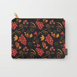 Traditional russian khokhloma print with berries and floral motives Carry-All Pouch