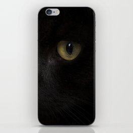 Black cat with yellow eyes iPhone Skin