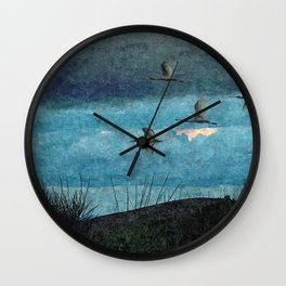 Flock Flamingos Flying Seaside Coast Wall Clock