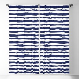 Navy Blue Stripes Blackout Curtain