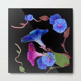 Black  Color Blue Morning Glory Art Design Pattern Metal Print
