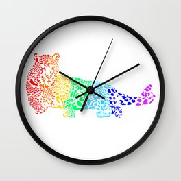 Rainbow Leopard Wall Clock