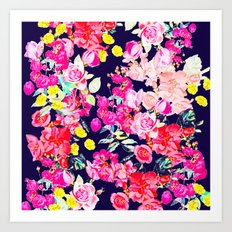Summer Bright Antique Floral Print with Hot Pink, Yellow, and Navy V2 Art Print