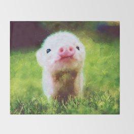 CUTE LITTLE BABY PIG PIGLET Throw Blanket