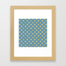 Gold Foil Snowflakes on Blue Background Framed Art Print