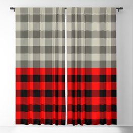 Vintage gingham and red buffalo pattern Blackout Curtain