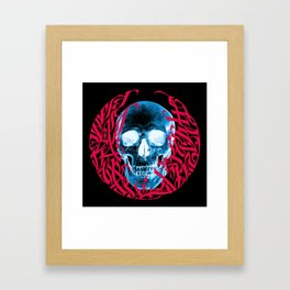 Gothic Calligraphy on Skull saying Always Hungry Framed Art Print