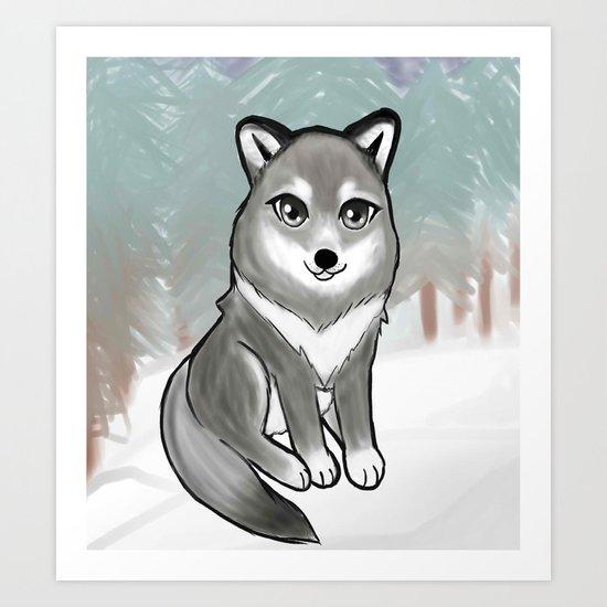 Chibi Wolf In The Snow Art Print By Mewspeak Society6