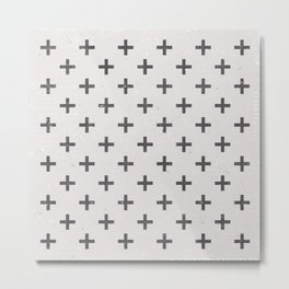Geometric Cross Modern Charcoal Vintage Grunge Pattern Metal Print