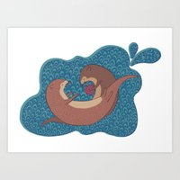 otters Art Prints featuring Underwater Otters by Amarie