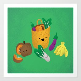 Bayong or Bukag with vegetables Art Print