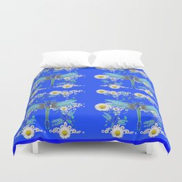 BLUE DRAGONFLIES REPEATING  DAISY FLOWERS  ART Duvet Cover
