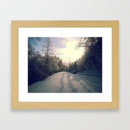 Snowy Road Framed Art Print