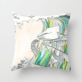 Whale Tital Wave Throw Pillow