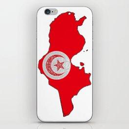 Tunisia Map with Tunisian Flag iPhone Skin