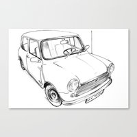 mini cooper Canvas Prints featuring Mini Cooper by Neko Naku