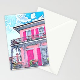 Watercolor Pink New Orleans French Quarter Nola Home Stationery Cards